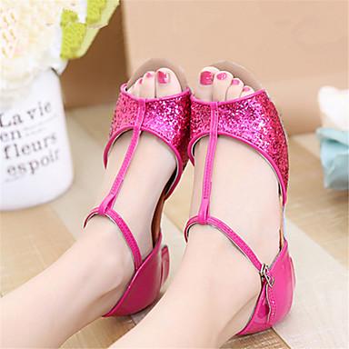 ราคาถูก รองเท้าเต้นราคาถูก-สำหรับผู้หญิง รองเท้าเต้นรำ เลื่อม ลาติน / บอลล์รูม รองเท้าแตะ ส้นต่ำ ไม่ตัดเฉพาะ เงิน / ทอง / สีบานเย็น / สำหรับเด็ก / EU36