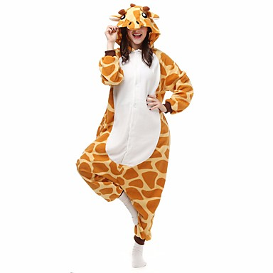 adults kigurumi pajamas giraffe onesie pajamas flannel toison orange cosplay for men and women animal sleepwear cartoon halloween festival holiday