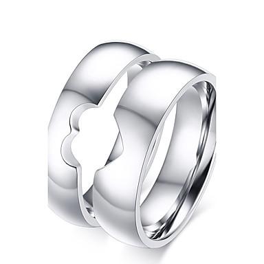 billige Båndringe-Par Parringer Band Ring Titan Titanium Stål damer Enkel dusk Bryllup Fest Smykker Forhold