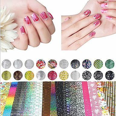 20 Sheet Mix Color Transfer Foil Nail Art Flower Design Sticker