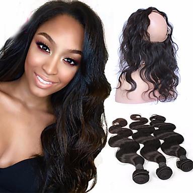 povoljno Ekstenzije od ljudske kose-4 paketića Brazilska kosa 360 Frontal Tijelo Wave Virgin kosa Kosa potke zatvaranje Isprepliće ljudske kose Proširenja ljudske kose / 10A