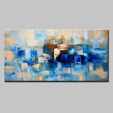 Hang-geschilderd olieverfschilderij Handgeschilderde - Abstract Modern Met Frame / Uitgerekt canvas