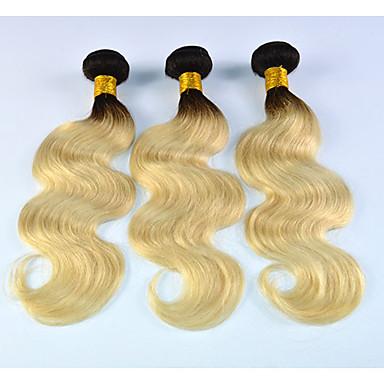 povoljno Ekstenzije od ljudske kose-3 paketa Brazilska kosa Tijelo Wave Ljudska kosa Ombre Isprepliće ljudske kose Proširenja ljudske kose / 8A