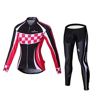 Malciklo สำหรับผู้หญิง แขนยาว Cycling Jersey with Tights อังกฤษ ขนาดพิเศษ จักรยาน เสื้อยืด รายการถุงน่อง ชุดออกกำลังกาย ระบายอากาศ 3D Pad แห้งเร็ว กระเป๋าหลัง กีฬา กำมะหยี่ ไลคร่า คลาสสิก