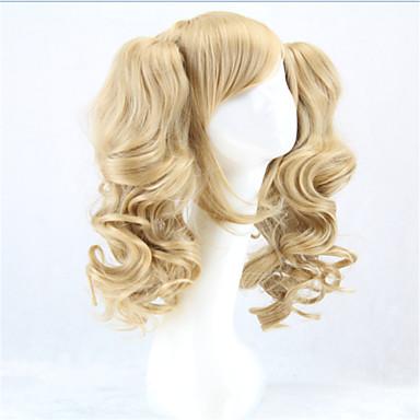 billige Kostymeparykk-Syntetiske parykker Kostymeparykker Krøllet Stil Med hestehale Parykk Blond Blond Syntetisk hår Dame Blond Parykk hairjoy