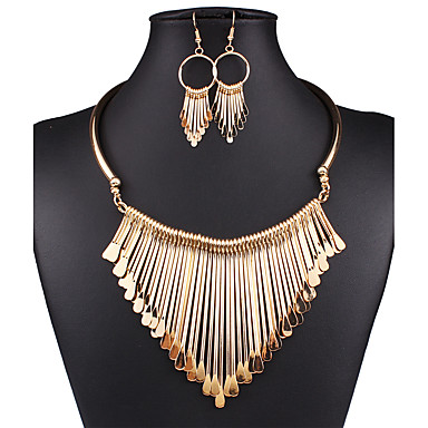cheap Jewelry Sets-Women's Jewelry Set Drop Earrings Statement Necklace Statement Ladies Vintage Sexy European Fashion Earrings Jewelry Gold / Silver For Wedding Party Daily Casual / Bib necklace