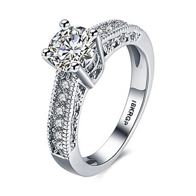 billige Motering-Dame Band Ring Statement Ring Diamant Kubisk Zirkonium moissanite Hvit Syntetiske Edelstener Sølv Zirkonium damer Personalisert Mote Bryllup Fest Smykker Rund HALO simulert Hjerte Kjærlighed