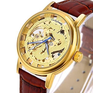 levne Pánské-CAGARNY Pánské Módní hodinky Hodinky s lebkou Náramkové hodinky Automatické natahování Pravá kůže Černá / Hnědá S dutým gravírováním Cool Analogové Luxus Vintage Na běžné nošení - Zlatá Stříbrná