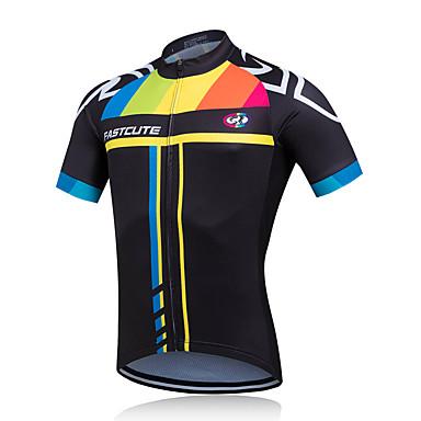 Fastcute Men s Short Sleeve Cycling Jersey - Black Blue Bike Jersey Top  Breathable Quick Dry Sweat-wicking Sports Coolmax® Mountain Bike MTB Road  Bike ... 0a020761a