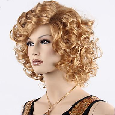 preiswerte Karneval - Perücken-Synthetische Perücken Locken Locken Mit Pony Perücke Blond Kurz Medium Goldene Brown Synthetische Haare Damen Gefärbte Haarspitzen (Ombré Hair) Seitenteil Blond
