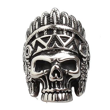 voordelige Herensieraden-Heren Statement Ring Agaat Zilver Agaat Titanium Staal Gepersonaliseerde Vintage Punk Dagelijks Causaal Sieraden Schedel