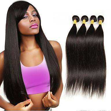 povoljno Ekstenzije od ljudske kose-4 paketića Brazilska kosa Ravan kroj Klasika Virgin kosa Ljudske kose plete 8-26 inch Isprepliće ljudske kose Proširenja ljudske kose / 10A