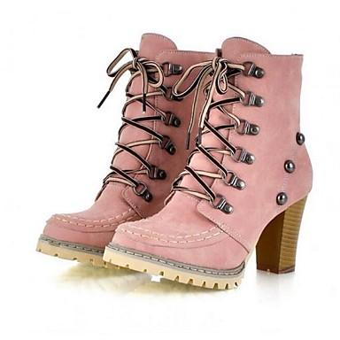 de00ca10b Mulheres Sapatos Couro Ecológico Primavera / Outono / Inverno Coturnos  Botas Salto Robusto Tachas / Cadarço Amarelo / Azul / Rosa claro de 5279643  2019 por ...
