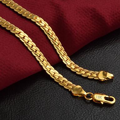 levne Pánské šperky-Pánské Řetízky Řepkový řetězec Foxtail řetězec Bahtův řetěz Přizpůsobeno Klasické Módní Hip-hop Pozlaceno 18k Žluté zlato Zlatá 50 cm Náhrdelníky Šperky 1ks Pro Párty Denní Ležérní