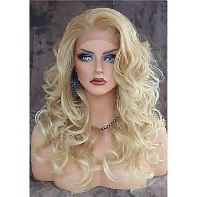 preiswerte Mode Perücken-Synthetische Lace Front Perücken Große Wellen Große Wellen Spitzenfront Perücke Blond Lang Blond Synthetische Haare Damen Hitze Resistent Natürlicher Haaransatz Seitenteil Blond