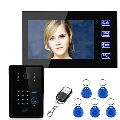 povoljno Zaštita i sigurnost-dodirna tipka 7 inčni lcd rfid lozinka jedan na jedan video telefon interfon sustav s 700tvl cmos ir kamera sustav kontrole pristupa ožičeni zid montiranje bez ruku