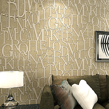 Fashion 3D Letter Stickers Modern Wall Paper Textured Wallpapers ...