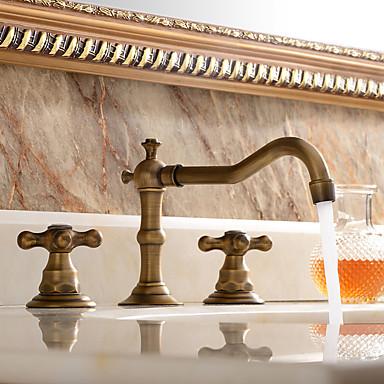 זול בית וגן-ויקטוריה נפוצה נחושת עתיקה ונפוצה בשתי ידיות שלוש ברזי אמבטיה-ברז כיור אמבטיה