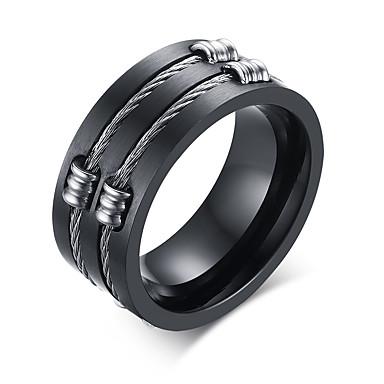 voordelige Herensieraden-Heren Bandring Groefringen Zwart Titanium Staal Wolfraamstaal Gepersonaliseerde Modieus Initial Dagelijks Causaal Sieraden