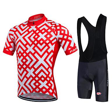 24ac84cda Fastcute Men s Short Sleeve Cycling Jersey with Bib Shorts - Black Plaid    Checkered Plus Size Bike Bib Shorts Jersey Bib Tights Breathable 3D Pad Quick  Dry ...