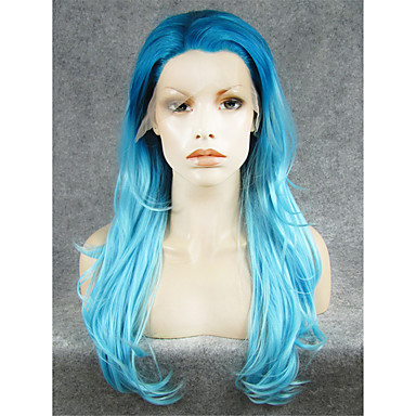 cheap Synthetic Lace Wigs-Synthetic Lace Front Wig Natural Wave Natural Wave Lace Front Wig Light Blue Synthetic Hair Women's Blue