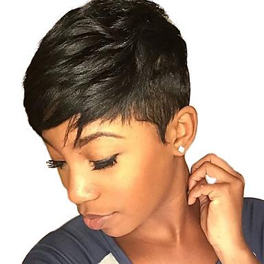 cheap Human Hair Capless Wigs-Human Hair Wig Natural Wave Short Hairstyles 2019 Berry Natural Wave Natural Black Capless Women's Black#1B