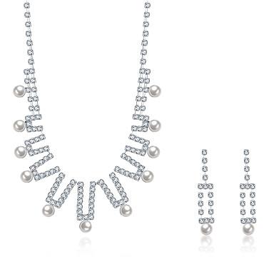 levne Dámské šperky-Dámské Kubický zirkon Sady šperků Náhrdelníky s přívěšky Náhrdelník / náušnice Přizpůsobeno Střapec Vintage Módní Perly Stříbro Zirkon Náušnice Šperky Stříbrná Pro Svatební Párty Ležérní