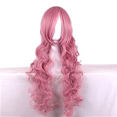 วิกผมสังเคราะห์ Wavy สไตล์ ผมปลอม สีชมพู Pink สังเคราะห์ สำหรับผู้หญิง สีชมพู วิก ยาว คอสเพลย์วิกผม