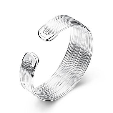 billige Motearmbånd-Dame Mansjettarmbånd Statement damer Europeisk Enkel Stil Mote Sølv Armbånd Smykker Hvit Til Fest Daglig Avslappet / Sølvplett