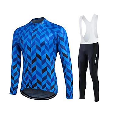 Fastcute สำหรับผู้ชาย แขนยาว Cycling Jersey จักรยาน ชุดออกกำลังกาย รักษาให้อุ่น กันลม ผ้าซับในขนสัตว์ ระบายอากาศ 3D Pad ฤดูหนาว กีฬา เส้นใยสังเคราะห์ กำมะหยี่ ผ้าขนแกะ กีฬา เสื้อผ้าถัก / แห้งเร็ว