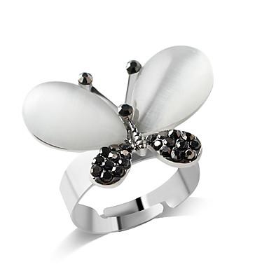 levne Dámské šperky-Dámské Dívčí Band Ring Stříbrná Umělé diamanty Slitina Přizpůsobeno Módní Párty Denní Šperky Motýl Zvíře