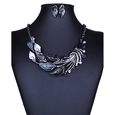 cheap Jewelry Sets-Women's Jewelry Set Necklace / Earrings Ladies Elegant European Fashion Euramerican Earrings Jewelry Black / Purple / Green For Wedding Party Daily Casual 1 set