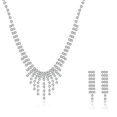 levne Dámské šperky-Dámské Kubický zirkon Sady šperků Náhrdelníky s přívěšky Náhrdelník / náušnice Přizpůsobeno Střapec Vintage Módní Stříbro Zirkon Náušnice Šperky Stříbrná Pro Svatební Párty Ležérní