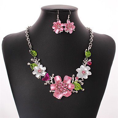cheap Jewelry Sets-Women's Cubic Zirconia Drop Earrings Statement Necklace Flower Ladies Bohemian European Fashion Euramerican Boho Zircon Silver Plated Earrings Jewelry Rainbow For Wedding Party Daily Casual 1 set