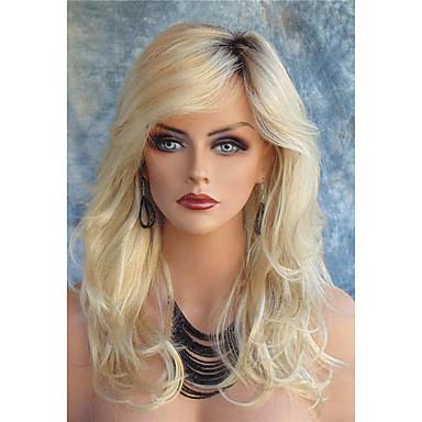 preiswerte Perückenparty-Synthetische Perücken Große Wellen Große Wellen Mit Pony Spitzenfront Perücke Blond Lang Blond Synthetische Haare Damen Dunkler Haaransatz Seitenteil Blond