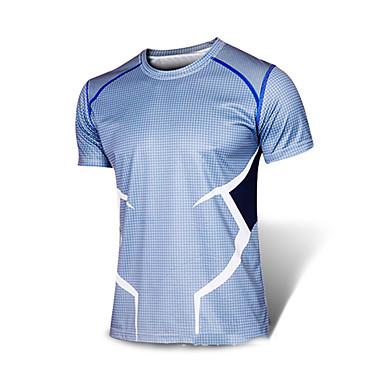 cheap Exercise, Fitness & Yoga-Men's Running T-Shirt Running Shirt Short Sleeve Summer Elastane Breathable Quick Dry Reflective Strips Gym Workout Exercise & Fitness Running Sportswear Tee Tshirt Sweatshirt Top Blue Activewear