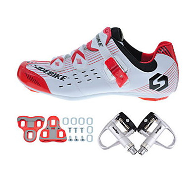e2e5daaff171c9 SIDEBIKE Adults' Cycling Shoes With Pedals & Cleats Road Bike Shoes Nylon  Breathable Cushioning Cycling White / Black / Red Men's Cycling Shoes /  Synthetic ...