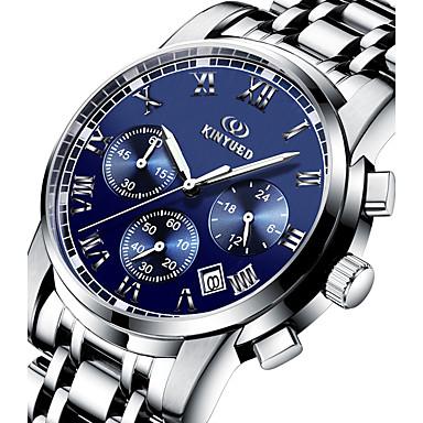 levne Pánské-KINYUED Pánské Náramkové hodinky Letecké hodinky Nerez Stříbro 30 m Voděodolné Kalendář Chronograf Analogové Luxus Klasické Na běžné nošení Módní - Černá Stříbrná / Svítící