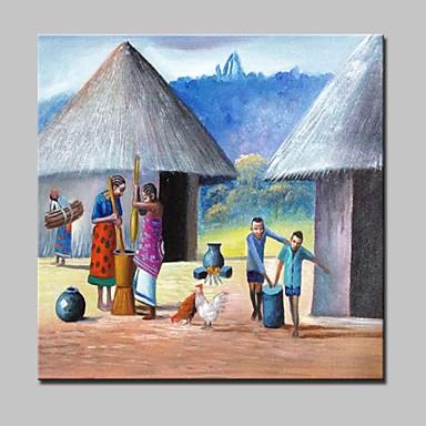 povoljno Ulja na platnu-Hang oslikana uljanim bojama Ručno oslikana - Sažetak Pejzaž Ljudi Moderna With Frame