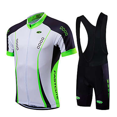 Fastcute Men s Short Sleeve Cycling Jersey with Bib Shorts - Light Green Bike  Jersey Bib Tights Clothing Suit Breathable Quick Dry Sports Coolmax® Lycra  ... 3da560cda