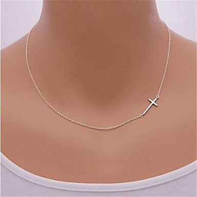 cheap Necklaces-Women's Pendant Necklace Sideways Cross Cross Dainty Ladies Simple Sideways Sterling Silver Silver Alloy Golden Silver Necklace Jewelry For Party Daily Casual Sports