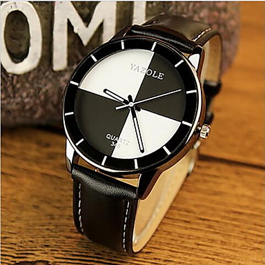 cheap Women's Brand Watches-YAZOLE Women's Wrist Watch Quartz Leather Black / White / Red Casual Watch Analog Ladies Charm Casual Fashion - White Black Red One Year Battery Life / SSUO 377