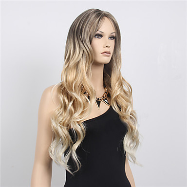 billige Kostymeparykk-Syntetiske parykker Bølget Stil Asymmetrisk frisyre Parykk Blond Lang Blond Syntetisk hår Dame Stilig Design Blond Parykk