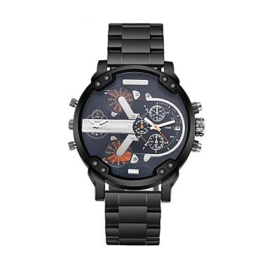 levne Pánské-CAGARNY Pánské Módní hodinky Náramkové hodinky Křemenný Nerez Černá / Bílá Hodinky s dvojitým časem Cool Analogové Luxus Vintage - Stříbrná Žlutá Modrá