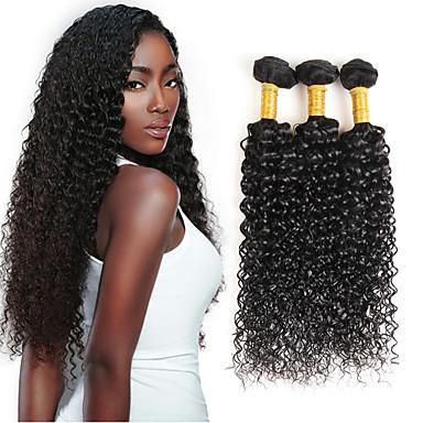 povoljno Ekstenzije od ljudske kose-3 paketi s zatvaranjem Brazilska kosa Kovrčav Kinky Curly Ljudska kosa Kosa potke zatvaranje Isprepliće ljudske kose Proširenja ljudske kose / 8A