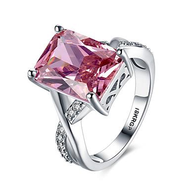 billige Ringe af sterlingsølv-Dame Band Ring Statement Ring Syntetisk Ruby Rød Syntetiske ædelstene Sølv Zirkonium Damer Personaliseret Usædvanlige Bryllup Fest Smykker Solitaire Emerald Cut simuleret Hjerte Kærlighed Cocktail
