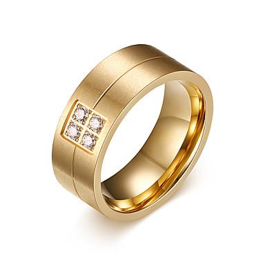 voordelige Herensieraden-Heren Bandring Groefringen Goud Titanium Staal Gepersonaliseerde Modieus Bruiloft Dagelijks Sieraden