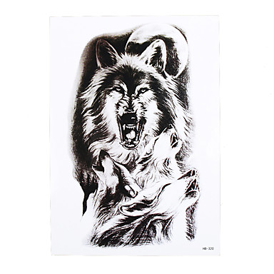 1pc Fake Tattoo Temporary Moon Wolf Howl Picture Design Cool Women