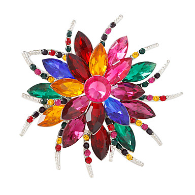 Žene Kristal Broševi Cvijet Personalized Moda Šarene Broš Jewelry White / White Izabrane Boja Silver / Gray Za Party Dnevno
