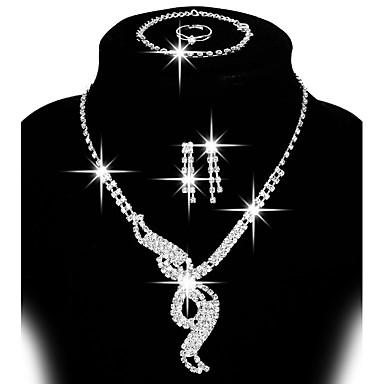 levne Dámské šperky-Dámské Sady šperků Peckové náušnice Visací náušnice dámy Řetízek Nastavitelná Módní Elegantní Pro nevěstu Štras Postříbřené Náušnice Šperky Stříbrná / Stříbro 2 Pro Svatební Párty Dar Denní Ležérn